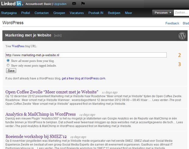 Wordpress koppelen met LinkedIN