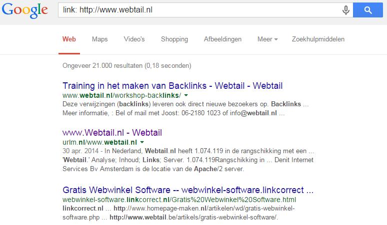 Backlinks aanmaken artikel Webtail
